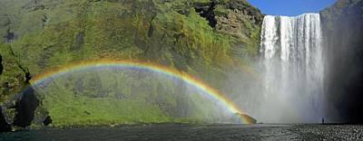 Human Landscape Photograph - Skogafoss Waterfall by Tony Craddock