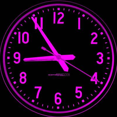 Time Peice Photograph - Skool Klock Black Purple by Rob Hans