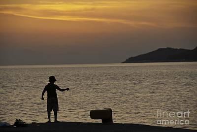 Skopelos Photograph - Skopelos Sunset - Fisher Boy - 1 by James Lavott