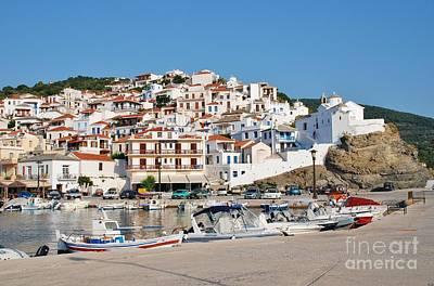 Skopelos Photograph - Skopelos Town Harbour Greece by David Fowler