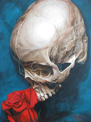 Rose And Skull Painting - Skull And Rose 2 by Melissa  Johnson