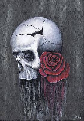 Rose And Skull Painting - Skull And Rose by Jamie Blackbourn