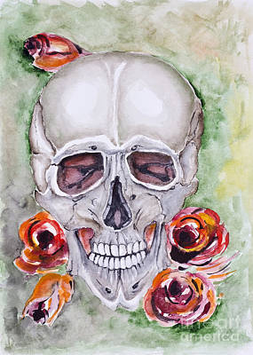 Grunge Skull Painting - Skull And Roses  by Irina Gromovaja