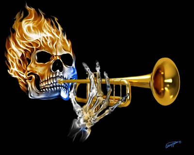 Mixed Media - Skull And Trumpet by Anthony Seeker