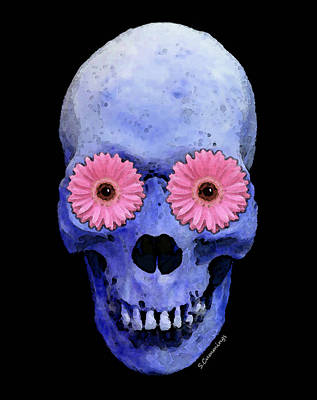 Skull Painting - Skull Art - Day Of The Dead 1 by Sharon Cummings