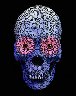 Goth Digital Art - Skull Art - Day Of The Dead 1 Stone Rock'd by Sharon Cummings