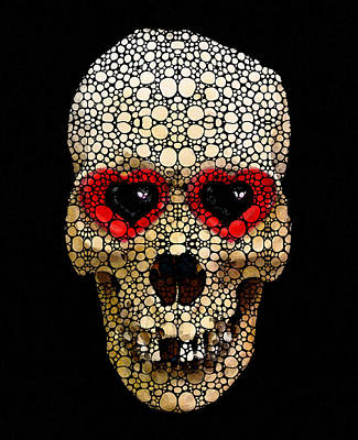 Strange Days Painting - Skull Art - Day Of The Dead 3 Stone Rock'd by Sharon Cummings