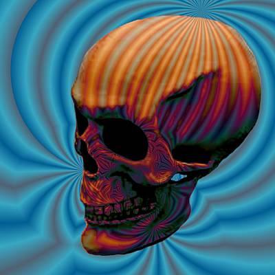 Skull Aura Orange Art Print by Jason Saunders