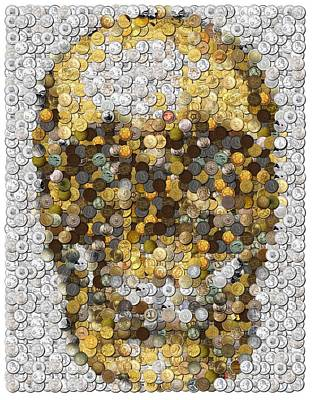 Espn Mixed Media - Skull Coins Mosaic by Paul Van Scott
