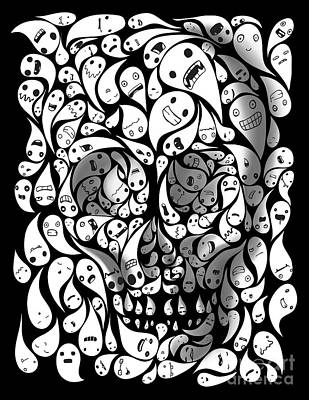 Day Of The Dead Painting - Skull Doodle by Sassan Filsoof