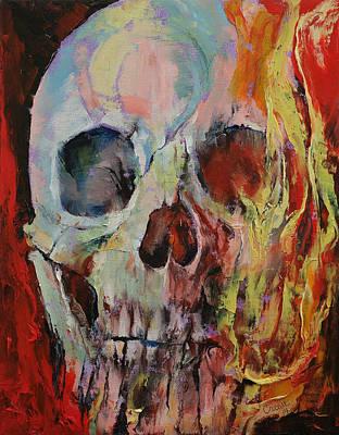 Skull Fire Art Print by Michael Creese