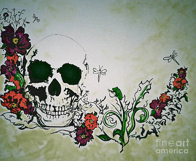 Dragonflies Drawing - Skull Flower Mural by Pete Maier