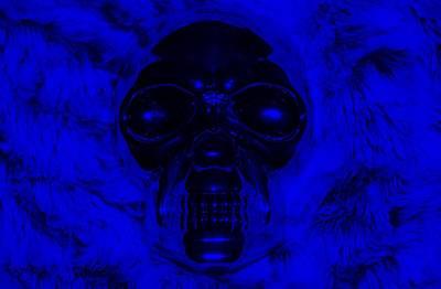 Mixed Media - Skull In Blue by Rob Hans