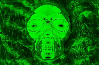 Skull In Radioactive Negative Green Art Print by Rob Hans