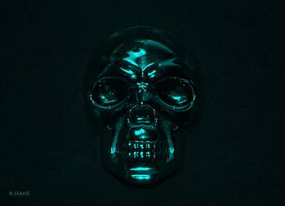 Mixed Media - Skull In Turquois by Rob Hans