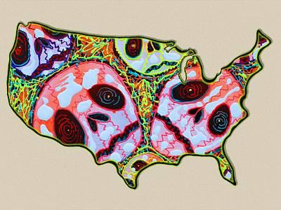 Skulls Digital Art - Skull Map Usa by Laura Barbosa