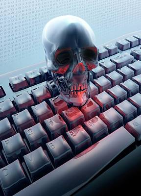 Skull On Computer Keyboard Art Print by Victor Habbick Visions