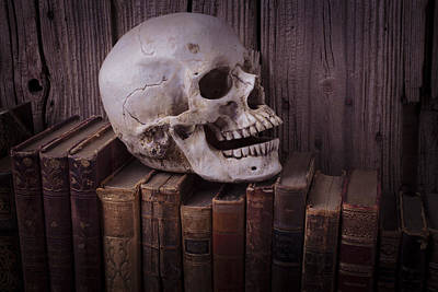 Photograph - Skull On Old Books by Garry Gay