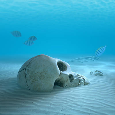 Skull On Sandy Ocean Bottom Print by Johan Swanepoel