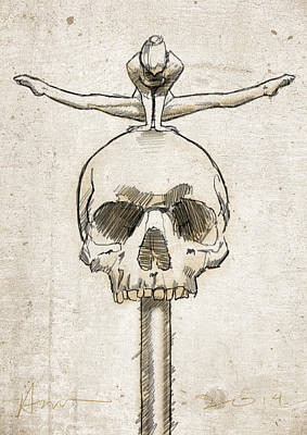Circus Drawing - Skull Splits by H James Hoff