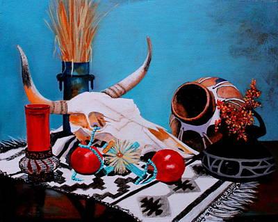 Hopi Indian Painting - Skull Still Life by M Diane Bonaparte
