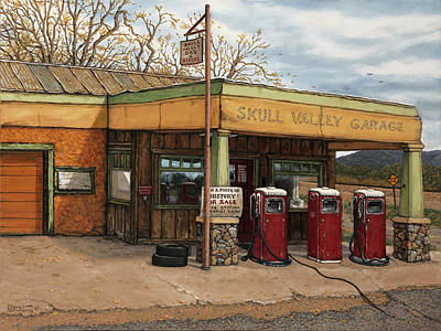 Service Garage Painting - Skull Valley Garage - Arizona by Janet Kruskamp