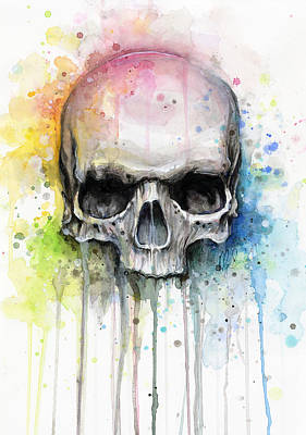 Vibrant Mixed Media - Skull Watercolor Painting by Olga Shvartsur