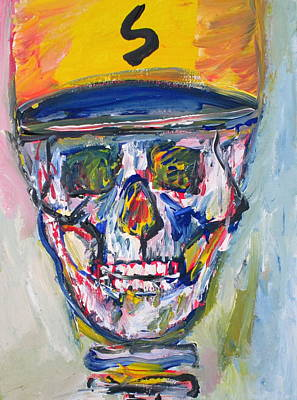 Baseball Cap Painting - Skull With  Baseball Hat by Fabrizio Cassetta