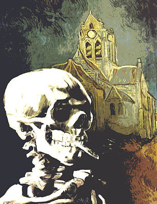Skull With Burning Cigarette At Auvers Church  Art Print