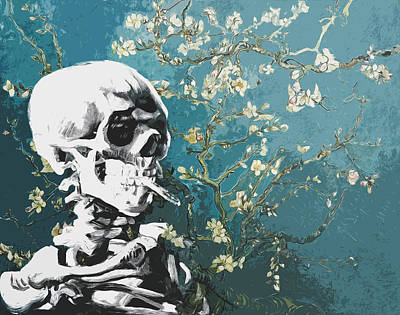 Skull With Burning Cigarette On Cherry Blossom Print by Filippo B