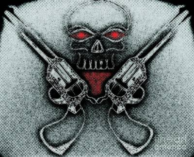 Skull With Guns Original by Ayush Tiwari
