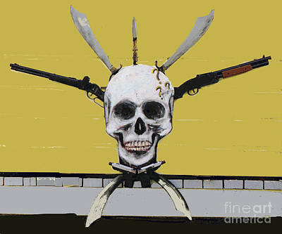 Sculpture - Skull With Guns by Bill Thomson