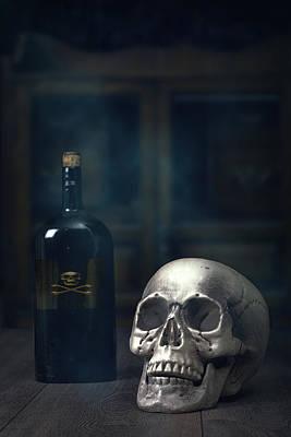 Photograph - Skull With Poison Bottle by Amanda Elwell
