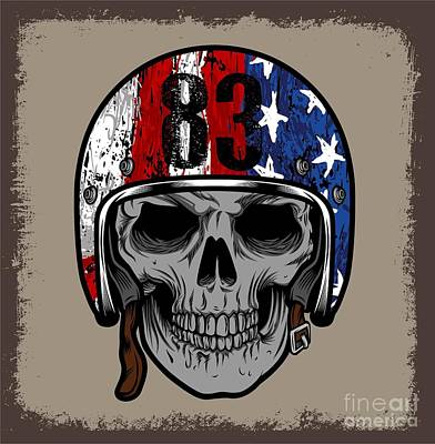 Bone Wall Art - Digital Art - Skull With Retro Helmet And American by Ixies