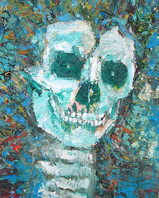 Painting - Skull With The Shining In The Eyes And Curly-haired by Fabrizio Cassetta