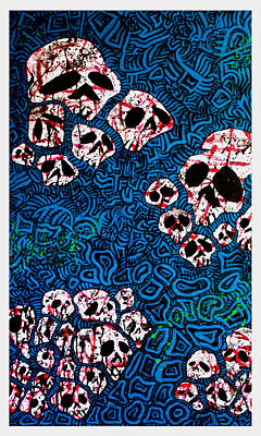 Web Of Life Painting - Skulls Of Babylon On Blue by Josh Brown