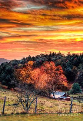 Sky Ablaze - Blue Ridge Sunrise I Art Print by Dan Carmichael