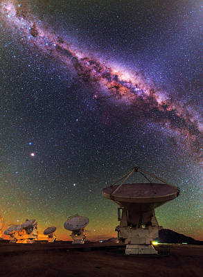 Sky Above Alma Radio Telescope Print by Babak Tafreshi