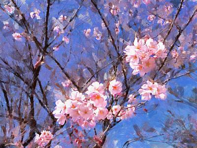 Cherry Blossoms Digital Art - Sky Blue And Sakura by Bernie  Lee