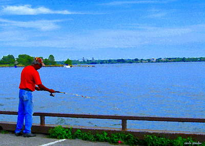 Summer Along The Canal Painting - Sky Blue Calm Waters Fisherman On The Pier  Lachine Canal Montreal Summer Scenes Carole Spandau by Carole Spandau