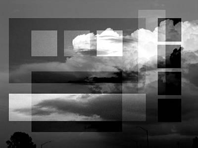 1920s Flapper Girl - Sky collage BW by Steve Karol