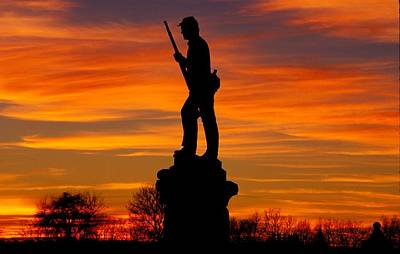 Sky Fire - 128th Pennsylvania Volunteer Infantry A1 Cornfield Avenue Sunset Antietam Art Print by Michael Mazaika