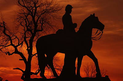 Sky Fire - 8th Pennsylvania Cavalry Regiment Pleasonton Avenue Sunset Autumn Gettysburg Art Print