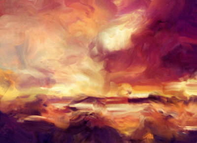 Painting - Sky Fire Abstract Realism by Georgiana Romanovna