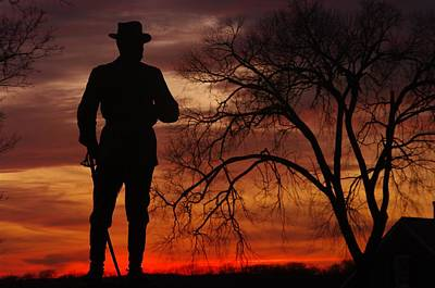 Yankee Division Photograph - Sky Fire - Brigadier General John Buford - Commanding First Division Cavalry Corps Sunset Gettysburg by Michael Mazaika
