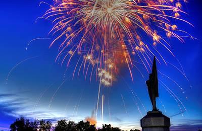 Montour Photograph - Sky Fire - Pennsylvania At Antietam - 132nd Pa Volunteer Infantry July 4th 2014 - 1b by Michael Mazaika