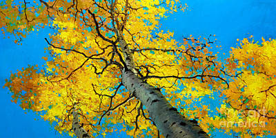 Fall Trees Painting - Sky High 3 by Gary Kim