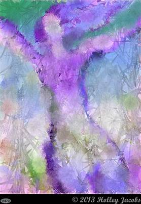 Digital Art - Sky High Purple by Holley Jacobs