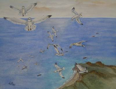 Painting - Sky High Seagulls by Kelly Mills