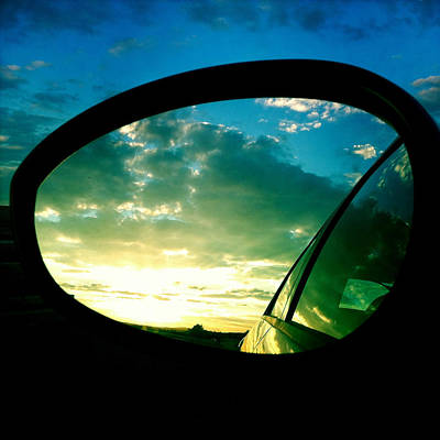 Light Photograph - Sky In The Rear Mirror by Matthias Hauser